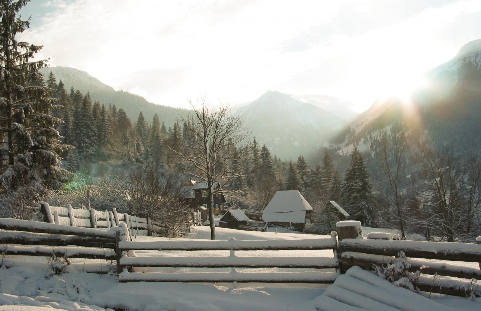 Peisaj pitoresc de iarnă din România, Borșa