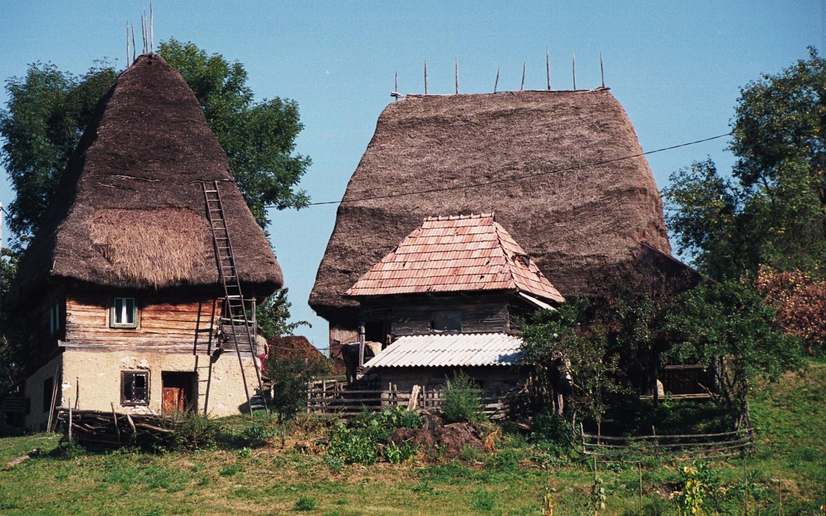 Gospodarie in Apuseni, acoperiș din paie
